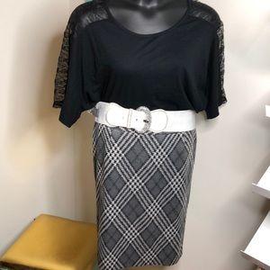 Plaid Grey Pencil Skirt 16W NWOT